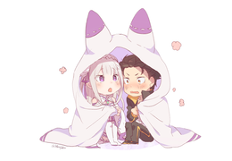 Emilia and Subaru Chibi Background