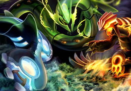 Mega Groudon Kyogre and Rayquaza