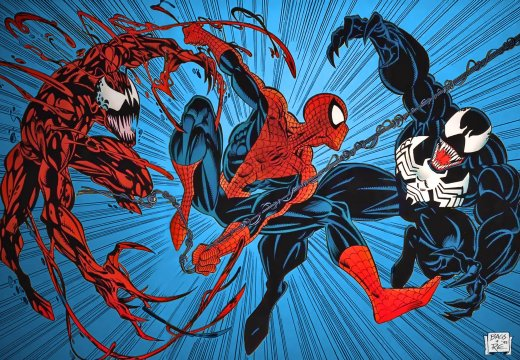 Spider-Man, Carnage, and Venom